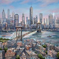 Brooklyn View by Phillip Bissell - Original Painting on Box Canvas sized 35x35 inches. Available from Whitewall Galleries